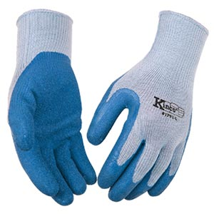 blue rubber work gloves